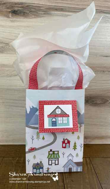 This DIY Gift bag was made with the Stampin' Up! Brightly Gleaming designer paper.