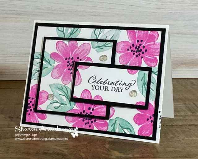This handmade birthday card features the Stampin' Up! Gorgeous Posies and triple time stamping technique.
