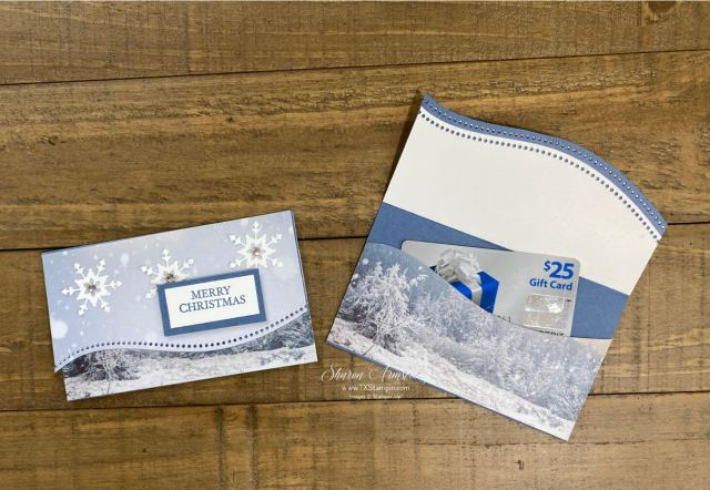 I love making gift card holders for Chrsitmas with this beautiful scrapbook paper.