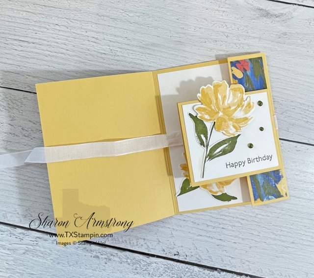 The Stampin Up! Art Gallery is the star of the show on this double flap fun fold card.