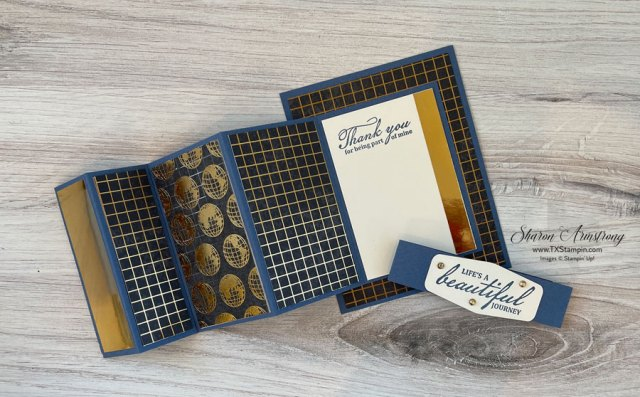The inside of this accordion fold masculine card has plenty of space to decorate and write a note too.