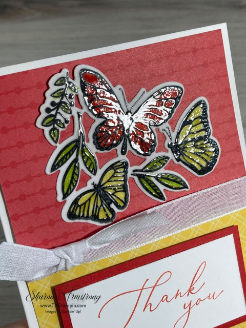 A lovely handmade card showing off the butterflies on this vellum paper.