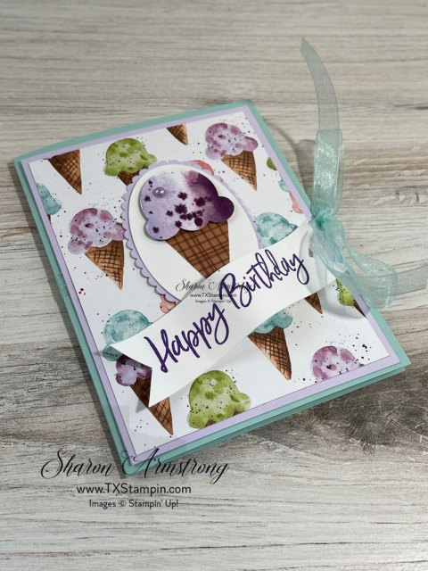 The Stampin' Up Sweet Ice Cream bundle makes a fun gift card holder for Birthdays.