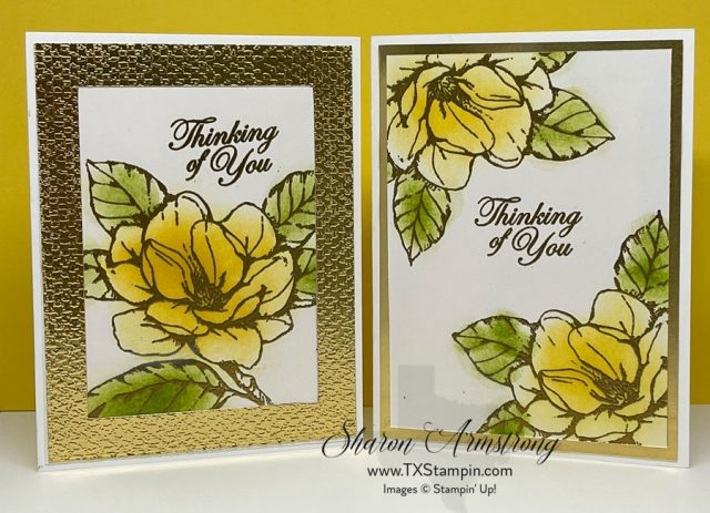 Embossing Powder comes in lots of colors; I used gold embossing powder for these cards.