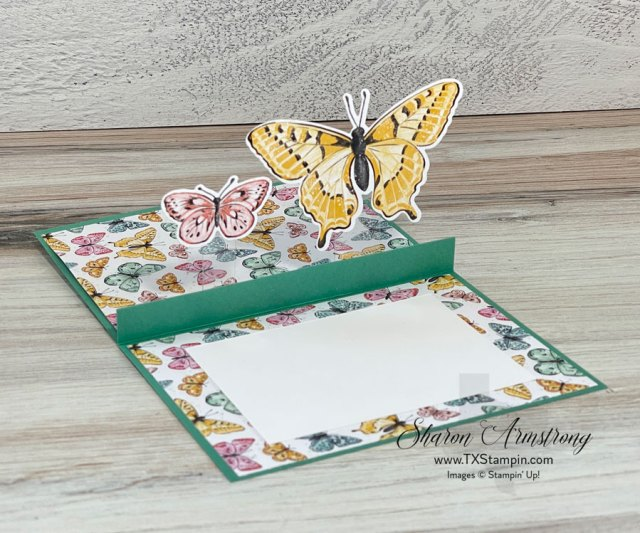 This pop up card idea was inspired by the new Stampin' Up! Butterfly Brilliance stamp set.