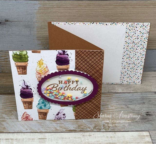 Make an easy shaker card with window sheets and ice cream corner sprinkles!
