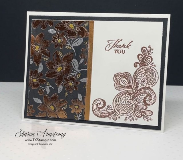 The Stampin' Up! Elegantly Said bundle is the perfect time to bring out the copper embossing powder.