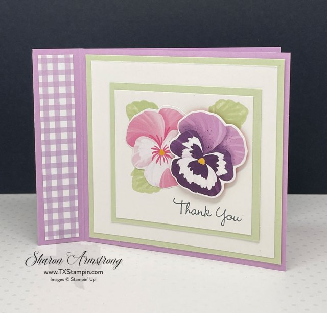 Pansy petals greeting cards can also be made with the designer paper and die cutting the pansy's in the paper.