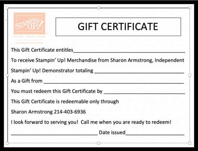 gift certificate for Stampin' Up! products