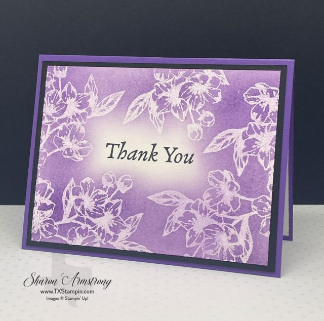 I used white powder for this emboss resist technique to make a thank you card.