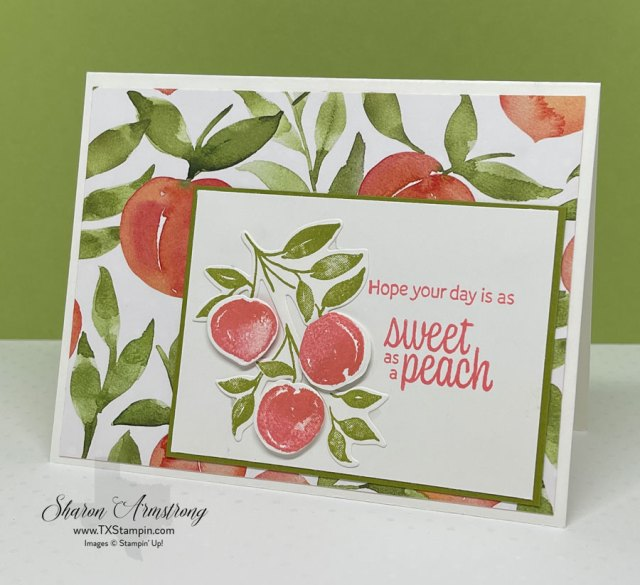 Stampin' Up! Sweet as a Peach card design that features designer paper, stamps & dies.
