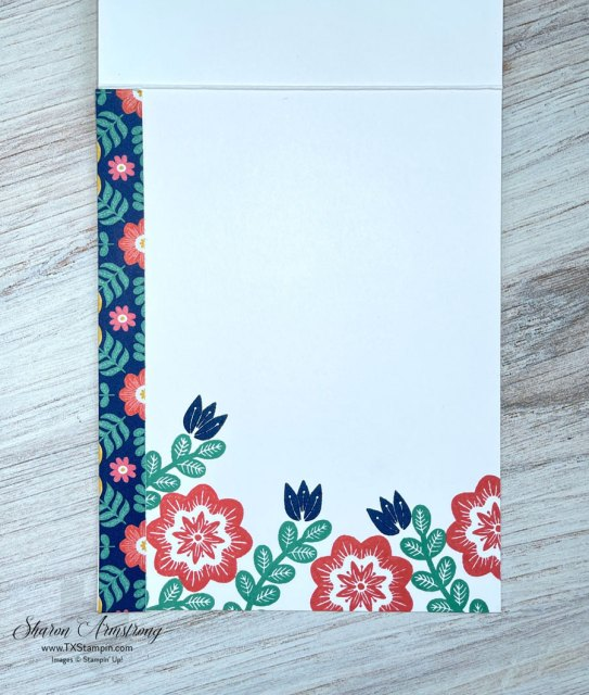 I carried my theme to the inside of this summer card and stamped the inside with flowers.