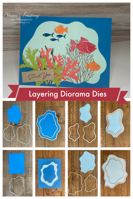 Did you know you can make aa seascape scene greeting card using the Diorama Dies by Stampin' Up!?