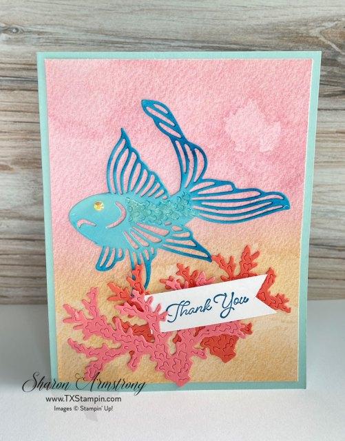 Ocean theme card featuring blue and green Koi fish.
