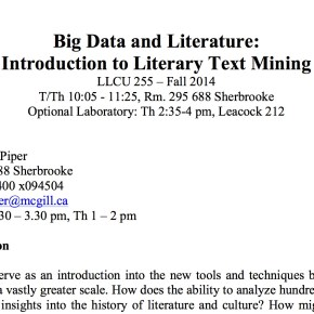 New Course! Big Data and Literature: Intro to Literary Text Mining