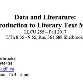 LLCU 255: Intro to Literary Text Mining -- New Syllabus 2017
