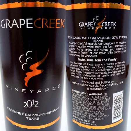 Grape Creek Cabernet/Syrah labels