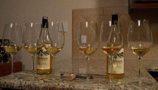 Perissos 2012 and 2014 Viognier poured