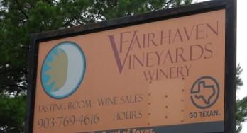 Fairhaven Vineyards sign