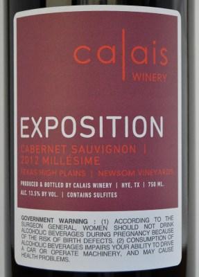 Calais Winery Cabernet Sauvignon Exposition label