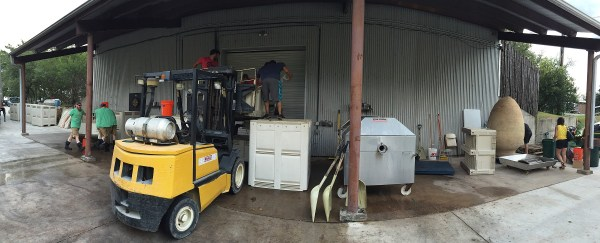 Crushing Tempranillo at Spicewood Vineyards
