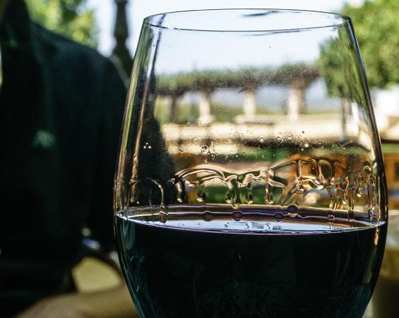 Tears on wine glass