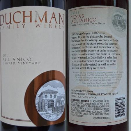 Duchman Aglianico 2011 labels