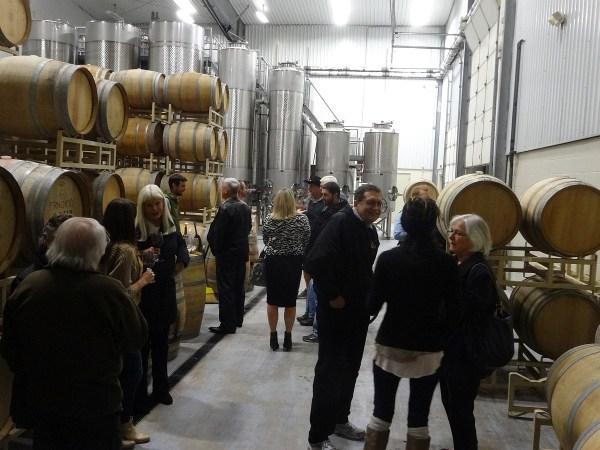 Group doing Aglianico barrel tasting