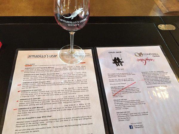 Armadillo's Leap Winery tasting menu