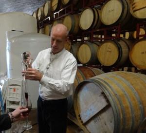Bob Landon doing a barrel tasting