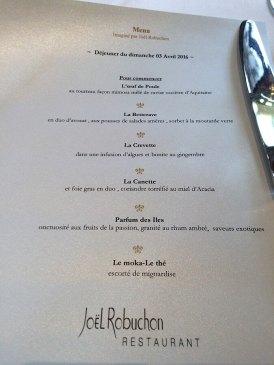 Joël Robuchon restaurant menu