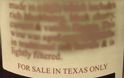 For Sale In Texas Only wine label