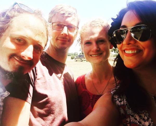 L-R: Benjamin Calais, James & Pat Davidson, Stephanie Houston