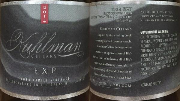 Kuhlman Cellars EXP labels