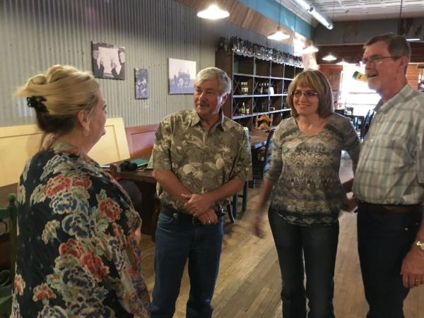 Jim Evans, winemaker for Lost Oak Winery in Burleson, came to discuss several Lost Oak wines at Triple D Restaurant in Brownfield (Proprietor Mary Wilmeth, Jim Evans, Laurie Ware, Shelly Ware)