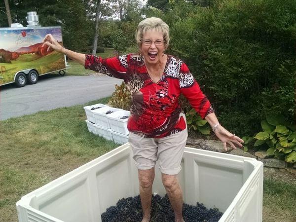 Barbara grape stomping