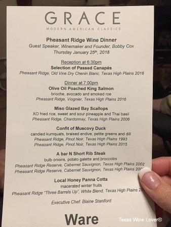 Pheasant Ridge dinner menu