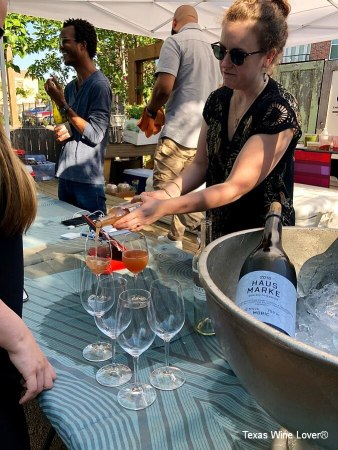 Pouring wines at pop-up bar