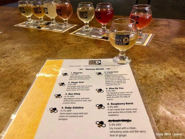 Breaking Brew Meadery flight and tasting menu