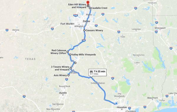 Lone Star Road Trip map