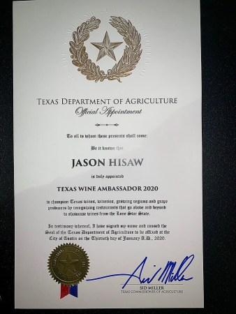 Jason Hisaw certificate