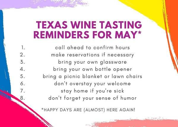 May 2020 Texas Wine Tasting Checklist