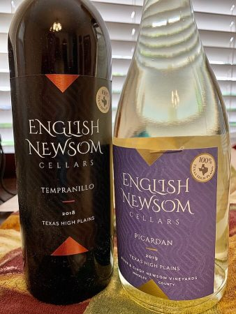 Bottles of Tempranillo and Picardan from the Texas High Plains