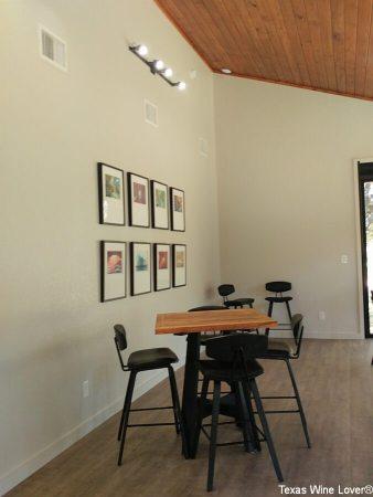 Tasting room interior with wine label art