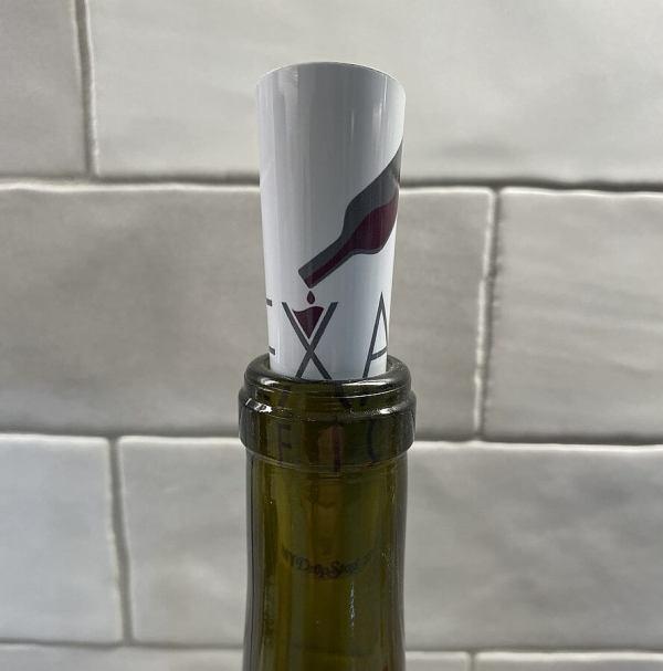 Texas Wine Lover DropStop in bottle front