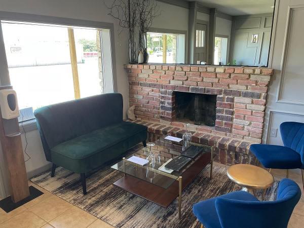 Peblle Rock Cellars fireplace