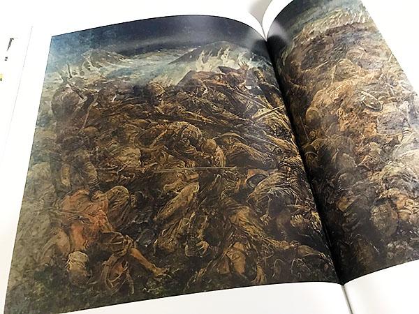 1943年の「アッツ島玉砕」を描いた戦争作品。193.5×259.5cmの大作で藤田の自信作。