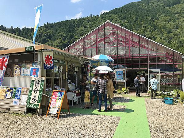 手作り感いっぱいの売店。モネの池土産もありましたが、何とも奥ゆかしい感じです。よく冷えたラムネが美味しかったぁ。奥に見えるのは以前からここにある植木や観葉植物の即売所。