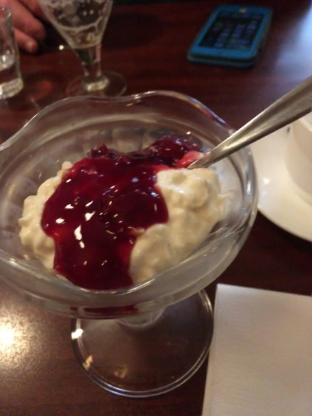 Delicious Rice Pudding With Sweet Cherry Sauce Topping