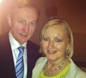 An Taoiseach Enda Kenny TD and Burgemeester van Geel Vera Celis, New Flemish Alliance party, Flemish Parliament